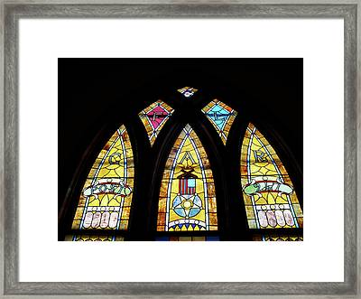 Gold Stained Glass Window Framed Print by Thomas Woolworth