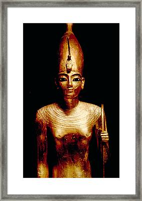 Gold Statue Of King Tutankhamun Framed Print
