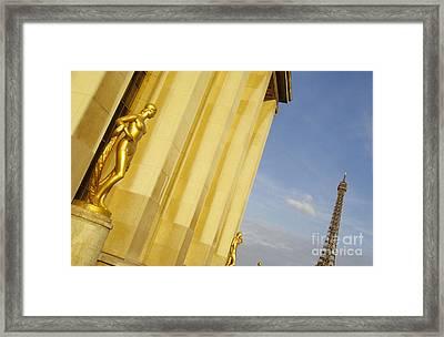 Gold Statue . Trocadero. Paris Framed Print by Bernard Jaubert