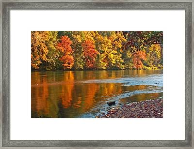 Gold Waters Framed Print by Tyra  OBryant