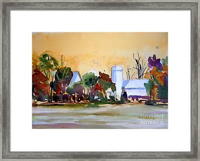 Golden Autumn Farm Framed Print by Mindy Newman