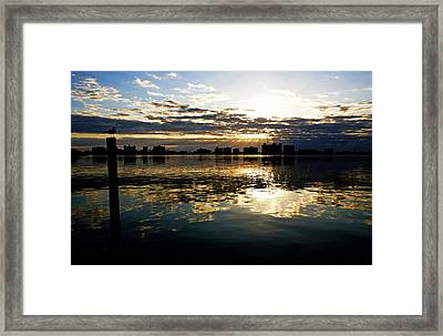 Framed Print featuring the photograph Golden Bayside by Jalai Lama