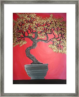 Golden Bonsai Framed Print by Silvia Louro