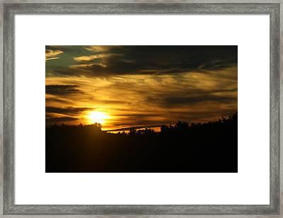 Golden Brush Strokes Framed Print
