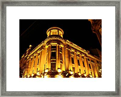 Golden Building At Night Framed Print by Kirsten Giving