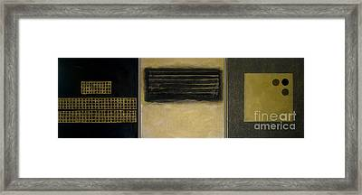 Golden Coin Triptych Framed Print by Marlene Burns