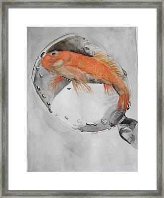 Golden Fish - One Wish Framed Print by Ema Dolinar Lovsin