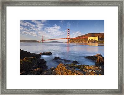 Golden Gate At Dawn Framed Print by Brian Jannsen