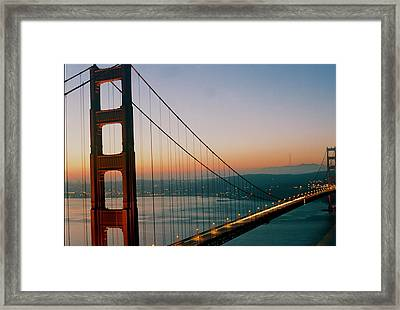 Golden Gate Blue Framed Print by Trent Mallett