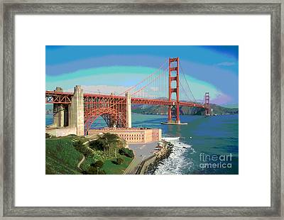Golden Gate Bridge Bay Side Framed Print by Padre Art