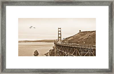 Golden Gate Bridge In Sepia Framed Print by Betty LaRue