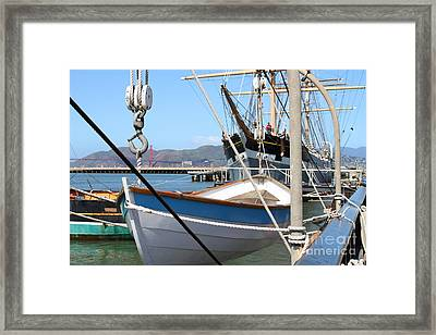 Golden Gate Bridge Through The Balclutha . A 1886 Square Rigged Cargo Ship At The Hyde Street Pier Framed Print by Wingsdomain Art and Photography