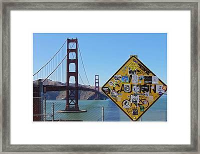 Golden Gate Stickers Framed Print by Cedric Darrigrand