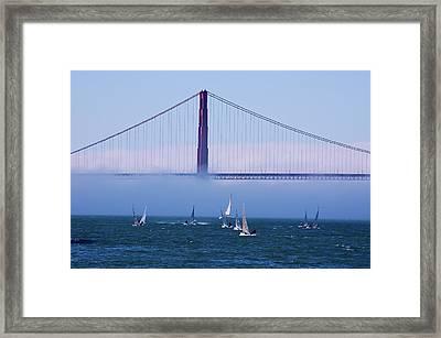 Framed Print featuring the photograph Golden Gate Windsurfers by Don Schwartz