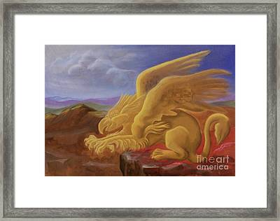 Golden Gryphon On Top Of The Alps Framed Print by Evelyn Cammarano
