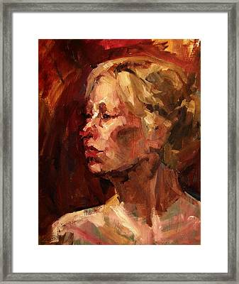 Golden Hair Portrait Of Woman Head In Crimson Yellow Hardworking Fieldworker Mother Whos Thoughtful Framed Print