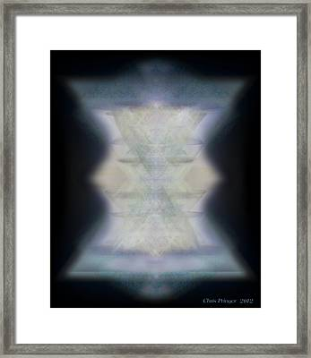 Golden Light Chalices Emerging From Blue Vortex Myst Framed Print by Christopher Pringer