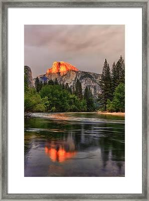 Golden Light On Halfdome Framed Print