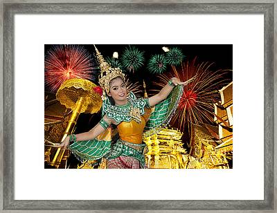 Golden Pagoda At Doi Suthap In Chiangmai With Fire Work Framed Print by Anek Suwannaphoom