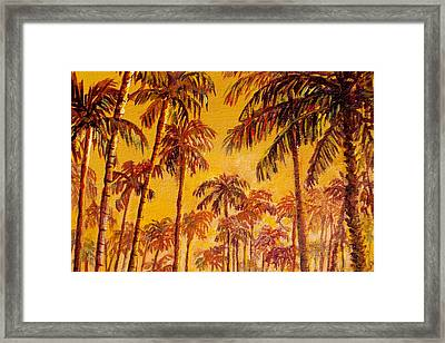 Framed Print featuring the painting Golden Palm Trees by Lou Ann Bagnall
