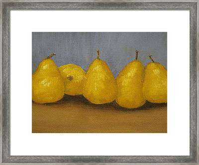 Golden Pears With Blue Framed Print
