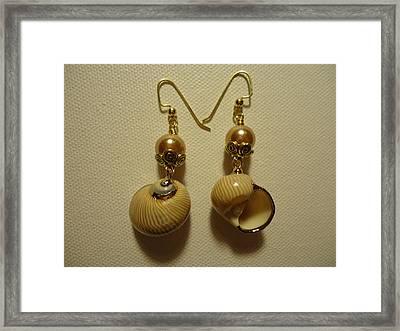 Golden Shell Earrings Framed Print by Jenna Green