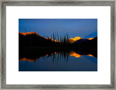 Golden Sunrise With Blue Background On Vermillion Lake Framed Print by Hegde Photos