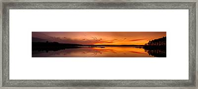 Golden Sunset Panorama On A Quiet Lake Framed Print