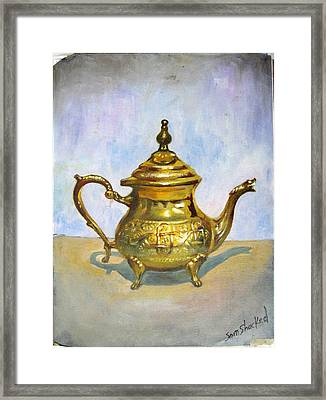 Golden Tea Kettle Framed Print by Sam Shacked