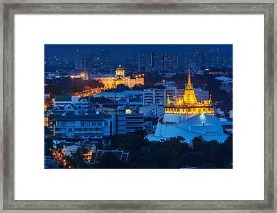 Golden Temple Bangkok Night Framed Print by Arthit Somsakul
