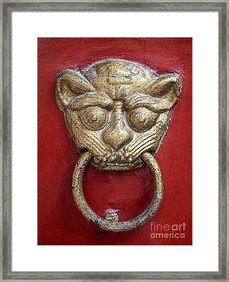 Golden Temple Door Knocker  Framed Print by Carol Groenen
