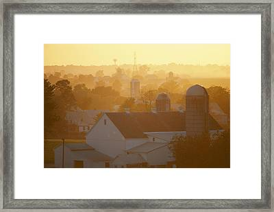 Golden Twilight Upon The Silos And Farm Framed Print by Michael S. Lewis