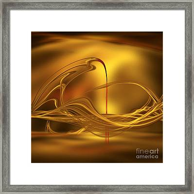Golden With Red Flow Framed Print