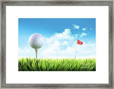 Golf Ball With Tee In The Grass  Framed Print by Sandra Cunningham