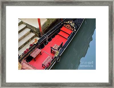 Gondola By Wharf Framed Print by Sami Sarkis