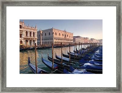 Gondolas Docked Outside Of Piazza San Framed Print by Jim Richardson
