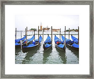 Gondolas In Venice  Framed Print by Nian Chen