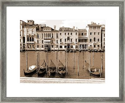 Framed Print featuring the photograph Gondolas Outside Salute by Donna Corless