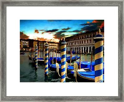 Gondolas Under A Summer Sunset Framed Print by Jann Paxton
