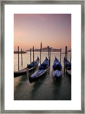 Gondolas With View Of San Giorgio Framed Print by Jim Richardson