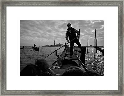 Gondolier Begins Tour Of Venices Canals Framed Print