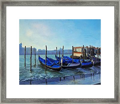 Gondolier Dock Venice Italy Framed Print