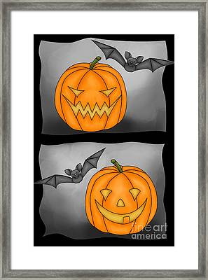 Good Pumpkin - Bad Pumpkin Framed Print by Claudia Pflicke