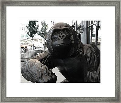 Gorilla On So Bend Street Framed Print