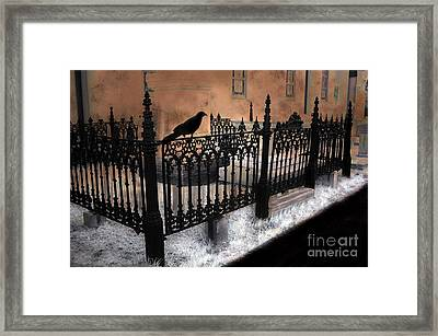 Gothic Cemetery Raven Framed Print by Kathy Fornal