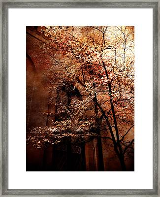 Gothic Surreal Haunting Trees Church Yard Autumn Fall  Framed Print by Kathy Fornal