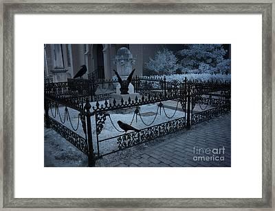 Gothic Surreal Night Gargoyle And Ravens - Moonlit Cemetery With Gargoyles Ravens Framed Print