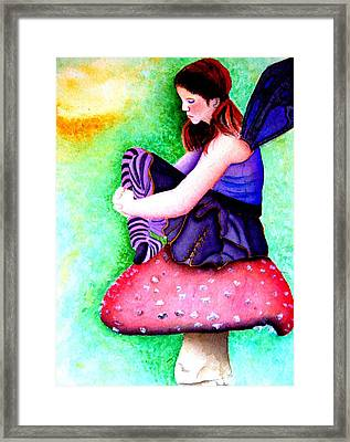 Gothic Teenage Fairy Framed Print by Amanda Pillet