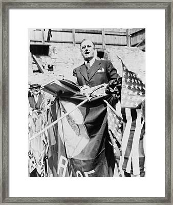 Gov. Franklin Roosevelt Speaking Framed Print by Everett