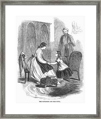 Governess And Child, C1860 Framed Print